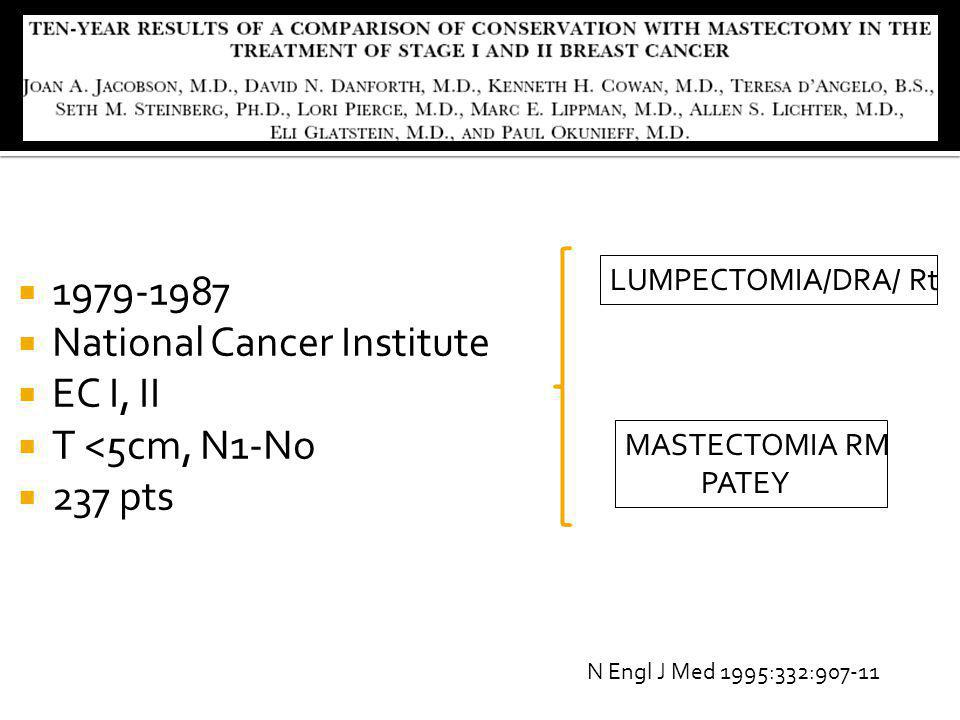 National Cancer Institute EC I, II T <5cm, N1-No 237 pts