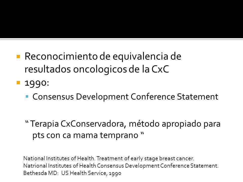 Reconocimiento de equivalencia de resultados oncologicos de la CxC