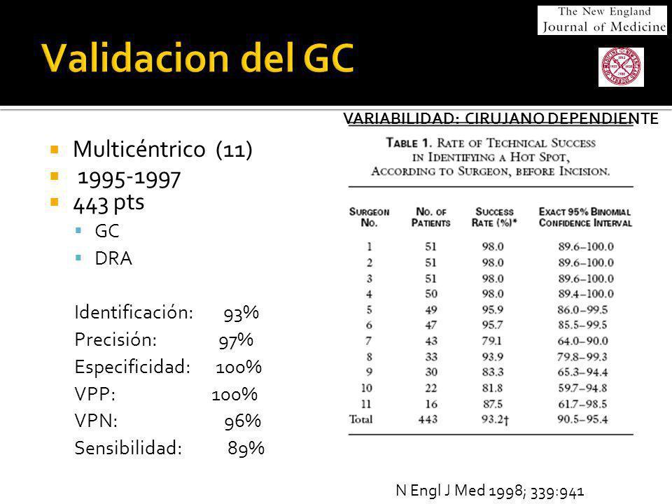 Validacion del GC Multicéntrico (11) 1995-1997 443 pts GC DRA