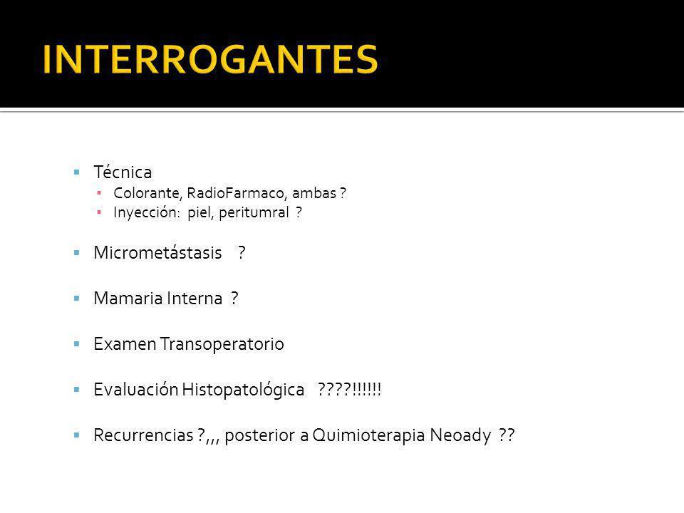 INTERROGANTES Técnica Micrometástasis Mamaria Interna