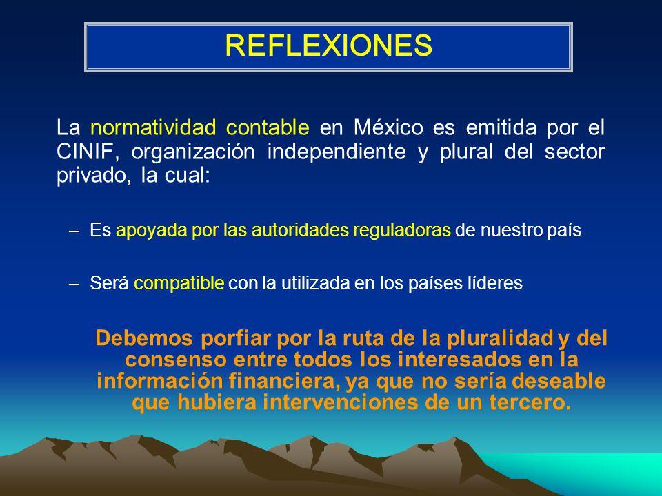 REFLEXIONES La normatividad contable en México es emitida por el CINIF, organización independiente y plural del sector privado, la cual: