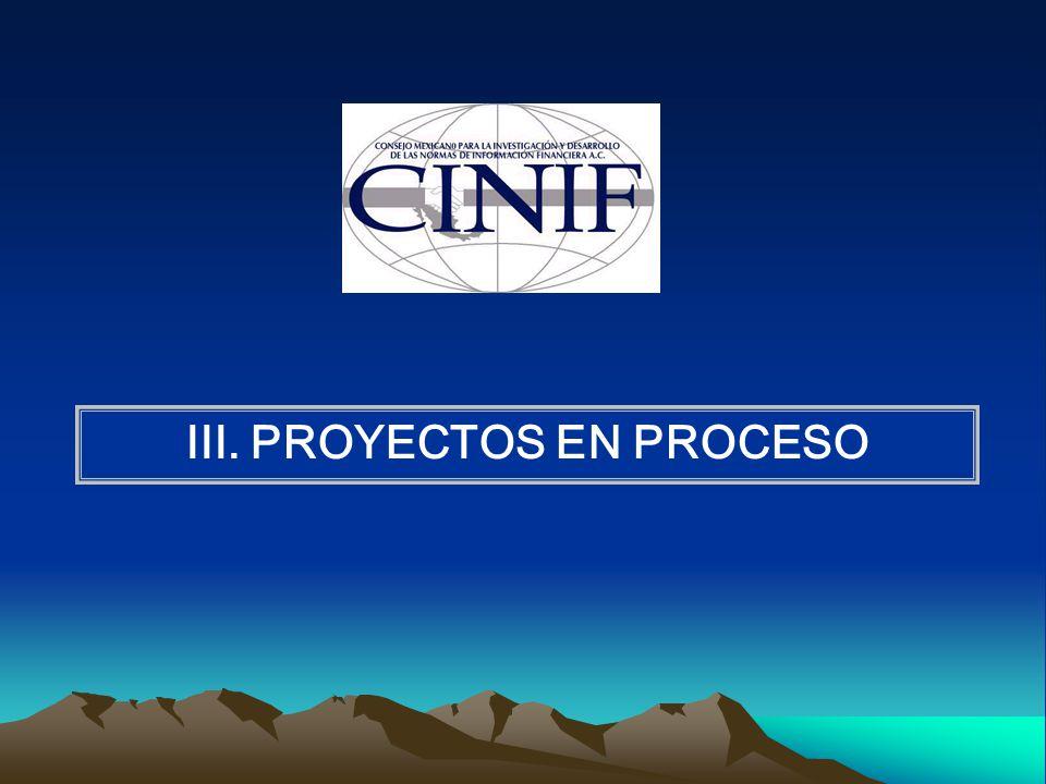 III. PROYECTOS EN PROCESO