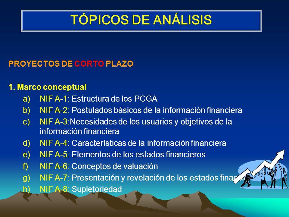 TÓPICOS DE ANÁLISIS PROYECTOS DE CORTO PLAZO 1. Marco conceptual