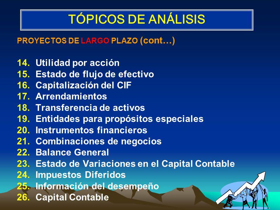 TÓPICOS DE ANÁLISIS Utilidad por acción Estado de flujo de efectivo