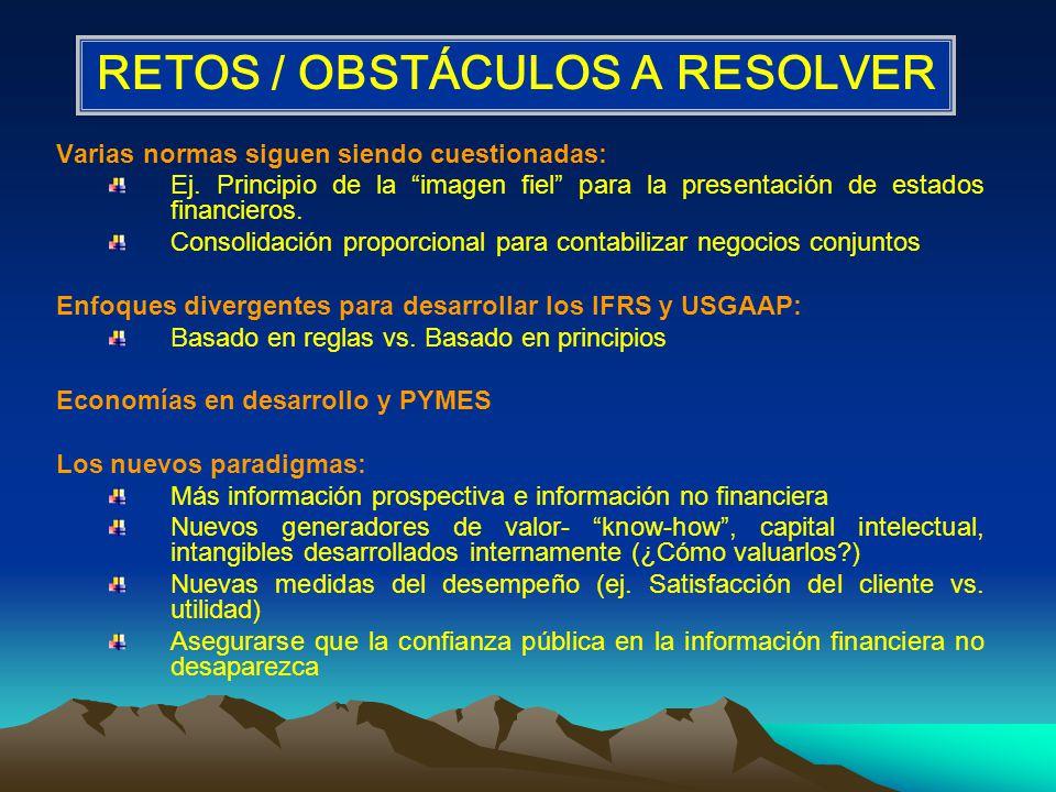 RETOS / OBSTÁCULOS A RESOLVER