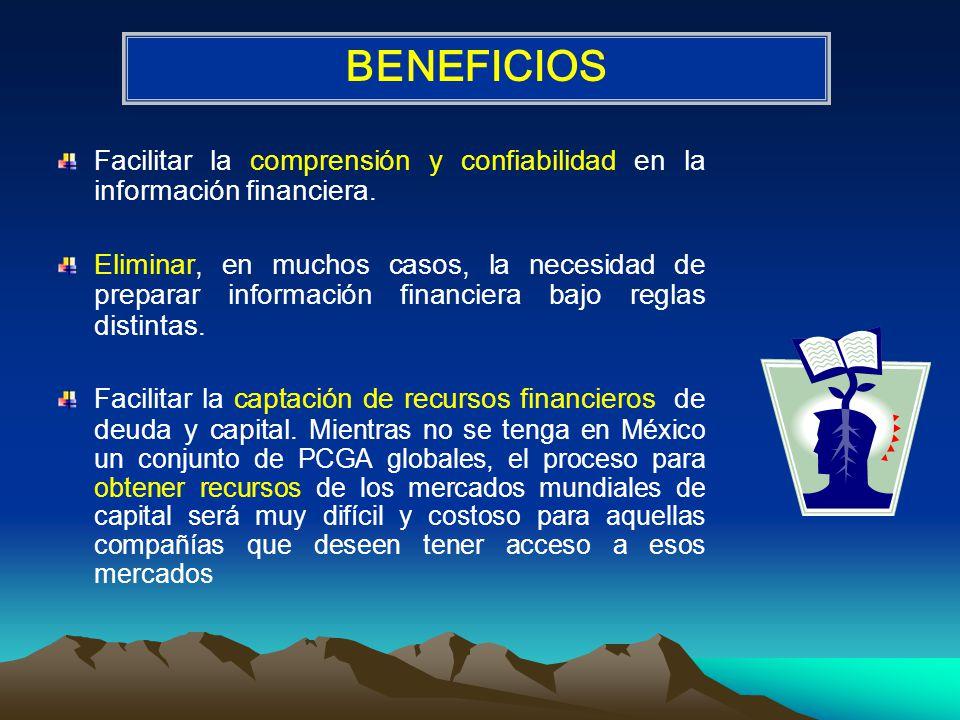 BENEFICIOS Facilitar la comprensión y confiabilidad en la información financiera.