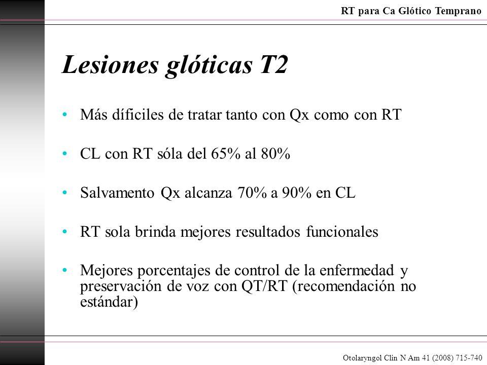Lesiones glóticas T2 Más díficiles de tratar tanto con Qx como con RT