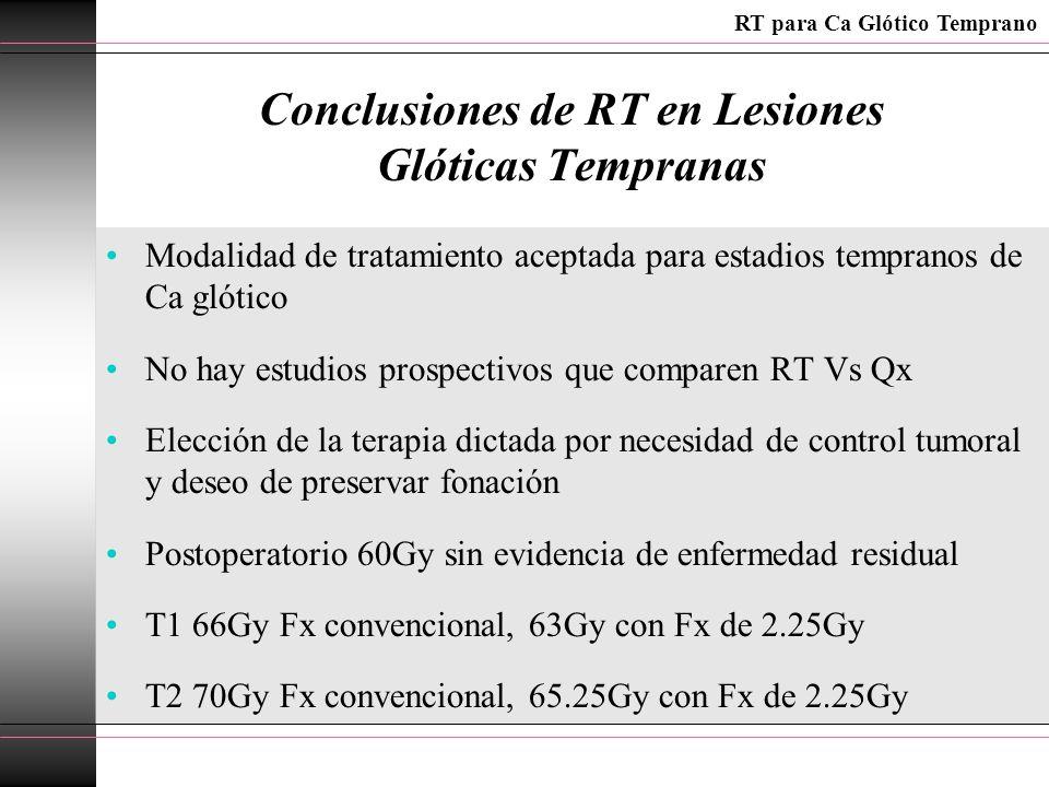 Conclusiones de RT en Lesiones Glóticas Tempranas