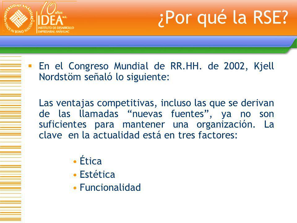¿Por qué la RSE En el Congreso Mundial de RR.HH. de 2002, Kjell Nordstöm señaló lo siguiente: