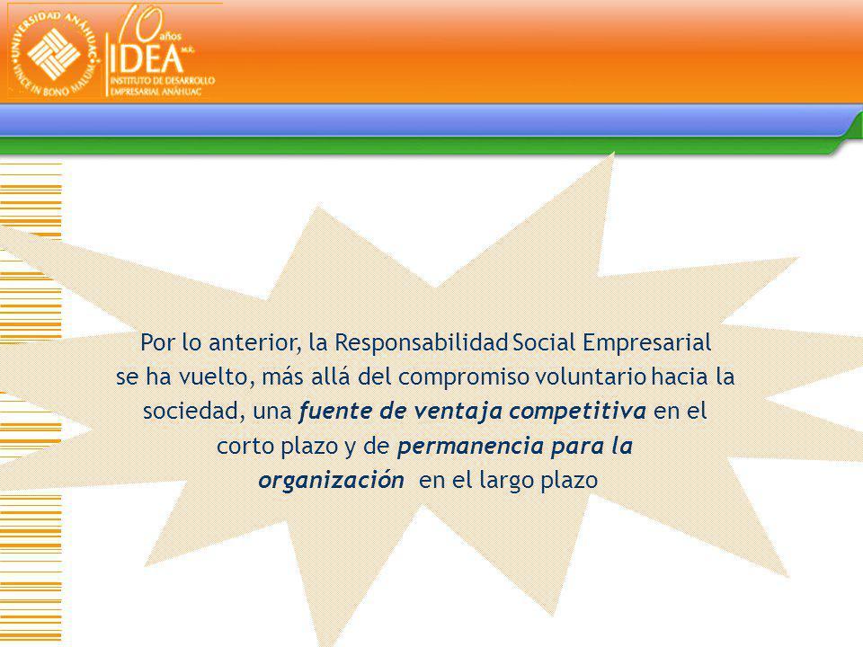 Por lo anterior, la Responsabilidad Social Empresarial