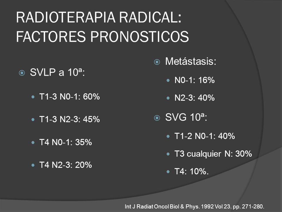 RADIOTERAPIA RADICAL: FACTORES PRONOSTICOS