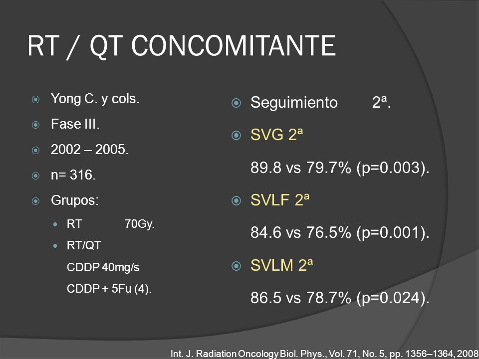 RT / QT CONCOMITANTE Seguimiento 2ª. SVG 2ª 89.8 vs 79.7% (p=0.003).