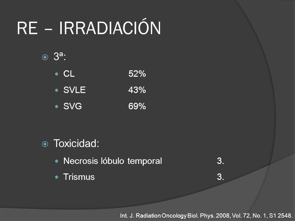 RE – IRRADIACIÓN 3ª: Toxicidad: CL 52% SVLE 43% SVG 69%