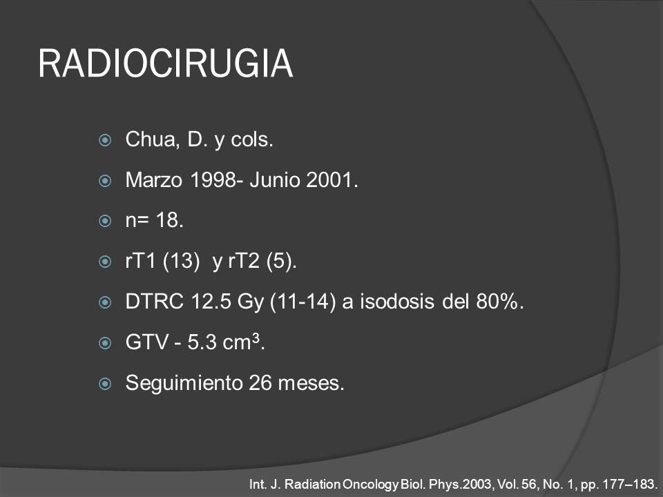 RADIOCIRUGIA Chua, D. y cols. Marzo 1998- Junio 2001. n= 18.