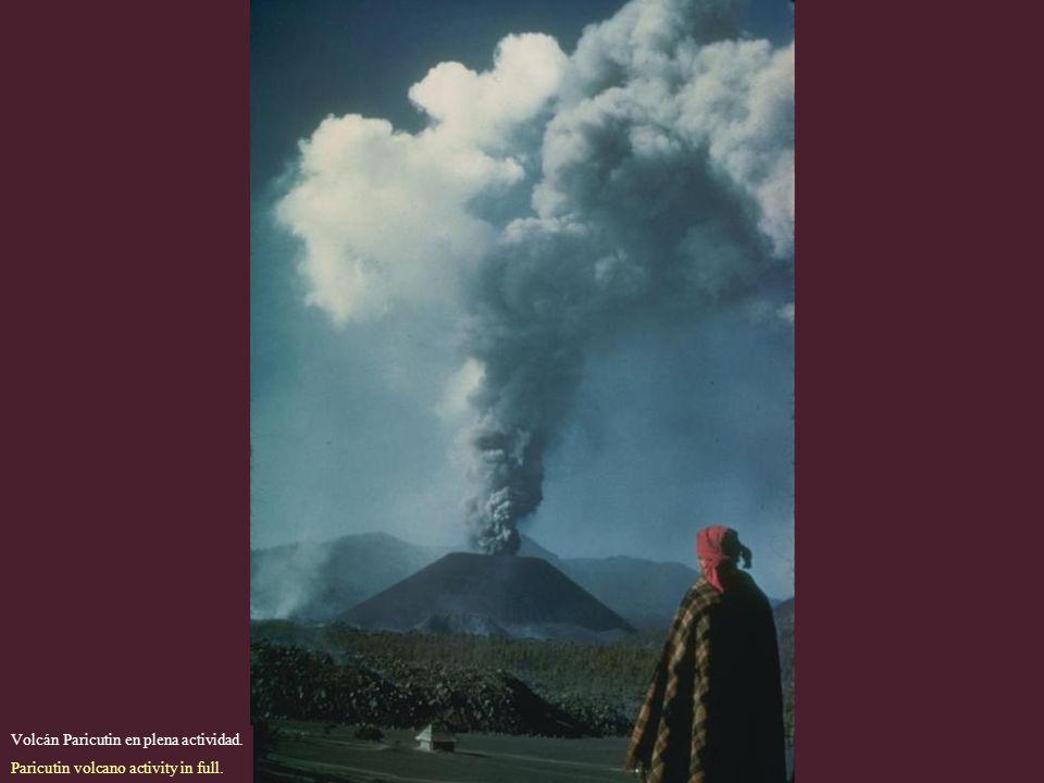 Volcán Paricutin en plena actividad.