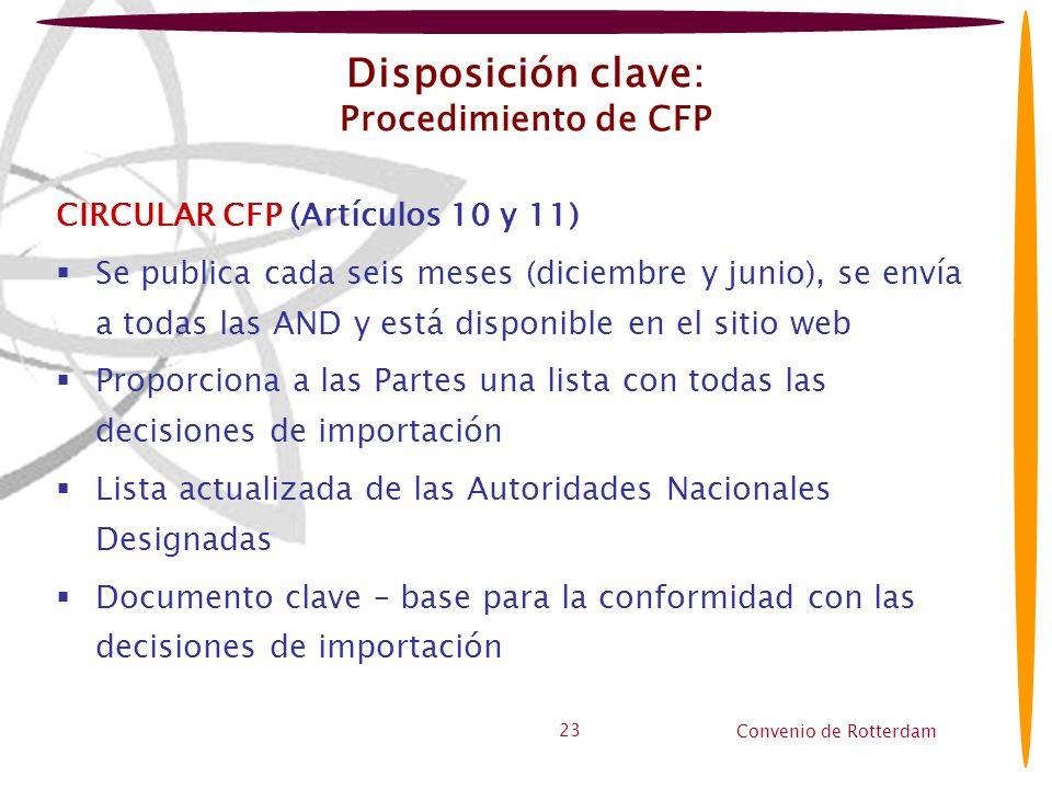 Disposición clave: Procedimiento de CFP