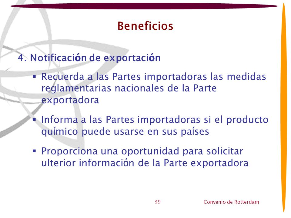 Beneficios 4. Notificación de exportación