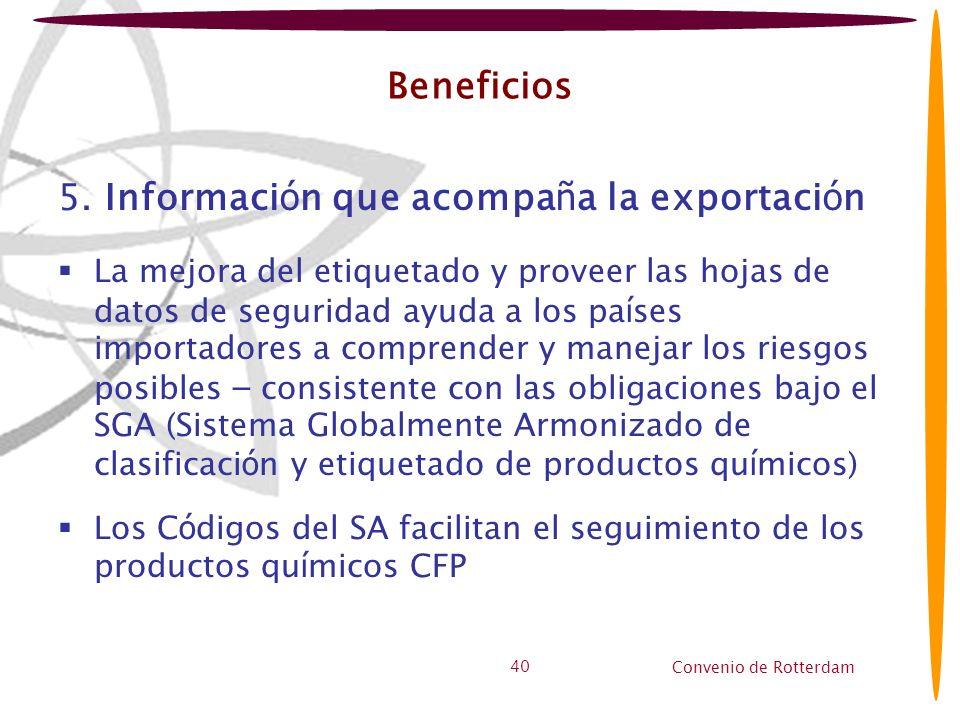 5. Información que acompaña la exportación