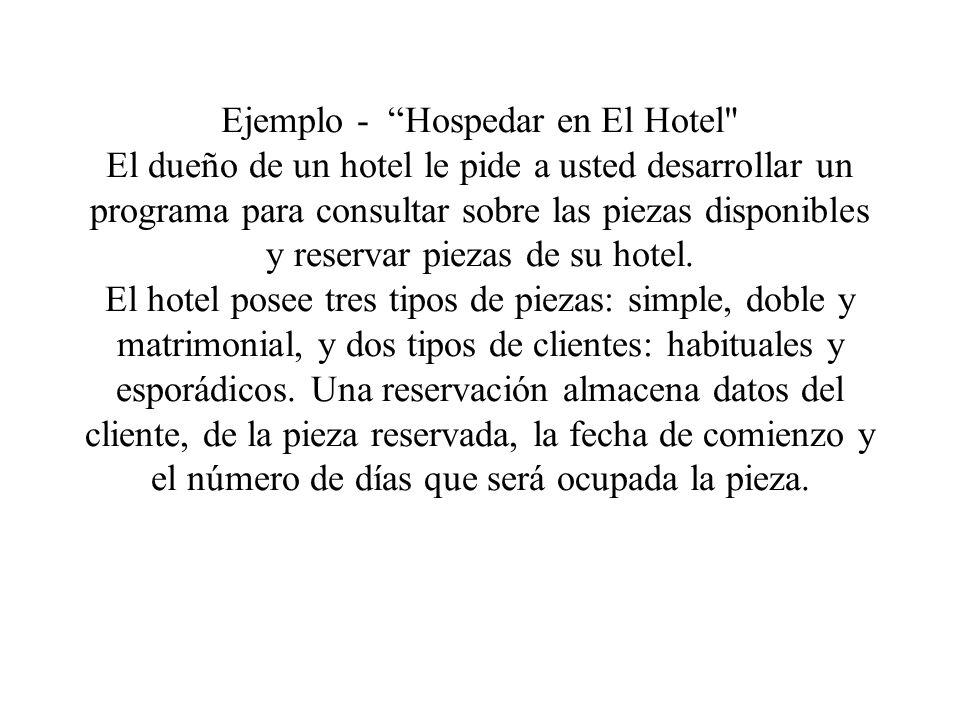 Ejemplo - Hospedar en El Hotel El dueño de un hotel le pide a usted desarrollar un programa para consultar sobre las piezas disponibles y reservar piezas de su hotel.