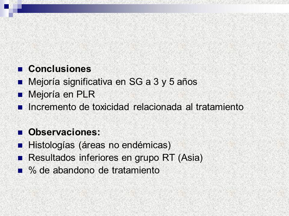 Conclusiones Mejoría significativa en SG a 3 y 5 años. Mejoría en PLR. Incremento de toxicidad relacionada al tratamiento.