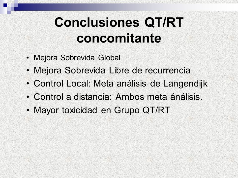 Conclusiones QT/RT concomitante
