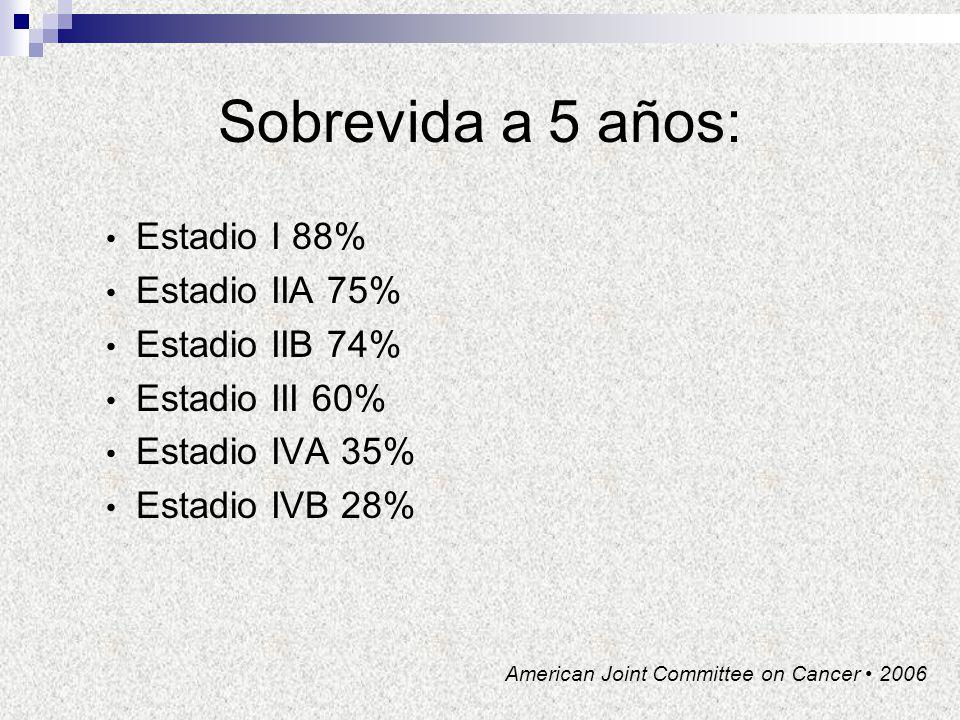 Sobrevida a 5 años: Estadio I 88% Estadio IIA 75% Estadio IIB 74%