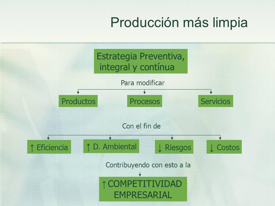 Producción más limpia Estrategia Preventiva, integral y contínua