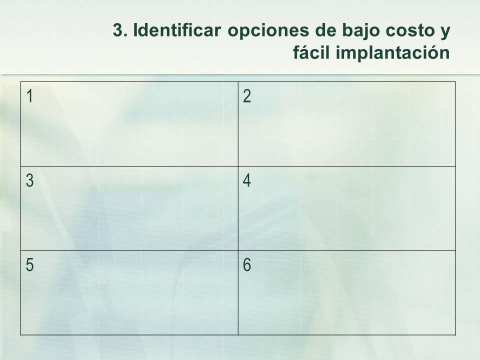3. Identificar opciones de bajo costo y fácil implantación