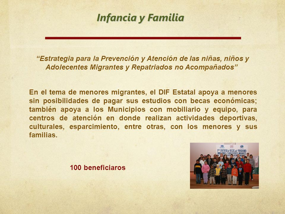 Infancia y Familia Estrategia para la Prevención y Atención de las niñas, niños y Adolecentes Migrantes y Repatriados no Acompañados