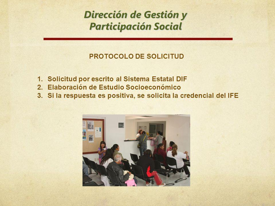 Dirección de Gestión y Participación Social PROTOCOLO DE SOLICITUD