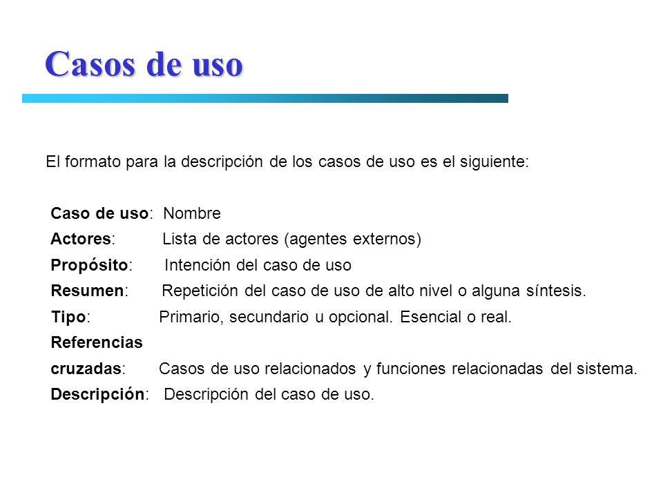 Casos de uso El formato para la descripción de los casos de uso es el siguiente: Caso de uso: Nombre.