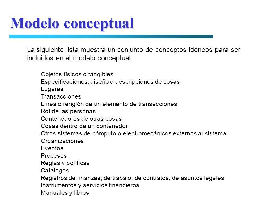 Modelo conceptualLa siguiente lista muestra un conjunto de conceptos idóneos para ser. incluidos en el modelo conceptual.