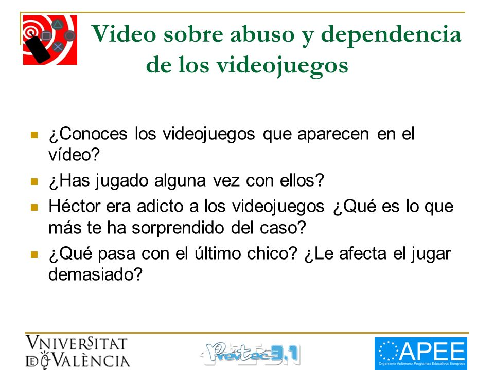 Video sobre abuso y dependencia de los videojuegos