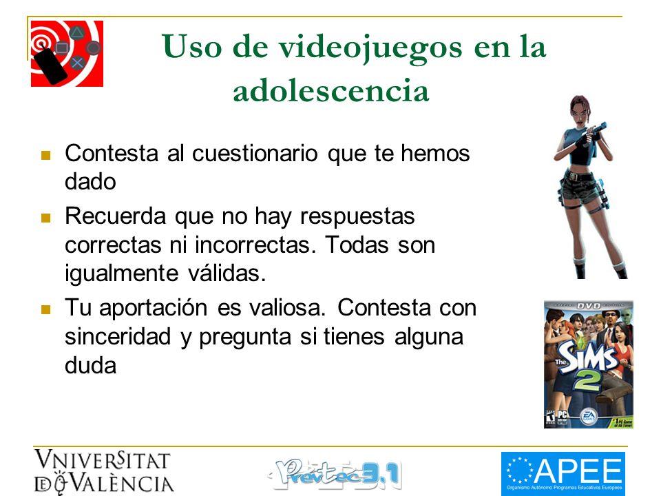 Uso de videojuegos en la adolescencia