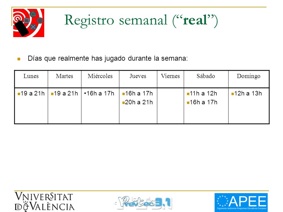 Registro semanal ( real )