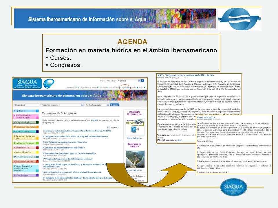 AGENDA Formación en materia hídrica en el ámbito Iberoamericano