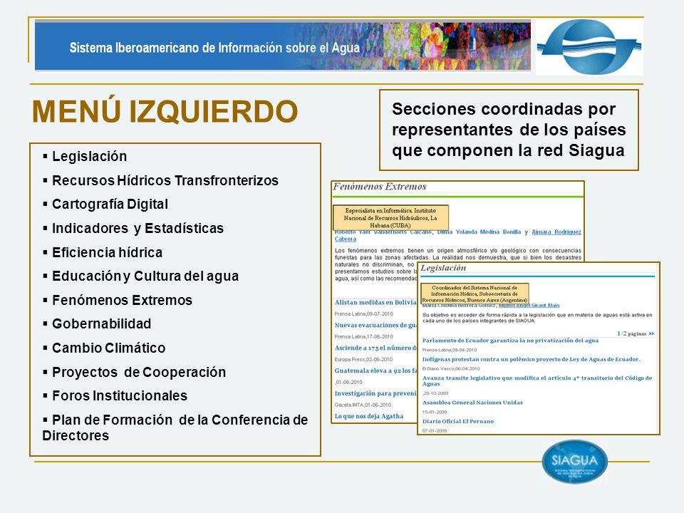 MENÚ IZQUIERDO Secciones coordinadas por representantes de los países que componen la red Siagua. Legislación.