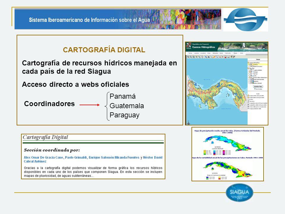 CARTOGRAFÍA DIGITAL Cartografía de recursos hídricos manejada en cada país de la red Siagua. Acceso directo a webs oficiales.