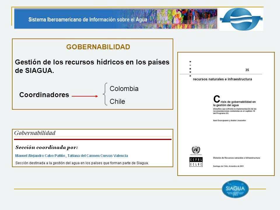 GOBERNABILIDAD Gestión de los recursos hídricos en los países de SIAGUA. Coordinadores. Colombia.