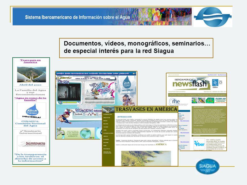 Documentos, vídeos, monográficos, seminarios… de especial interés para la red Siagua