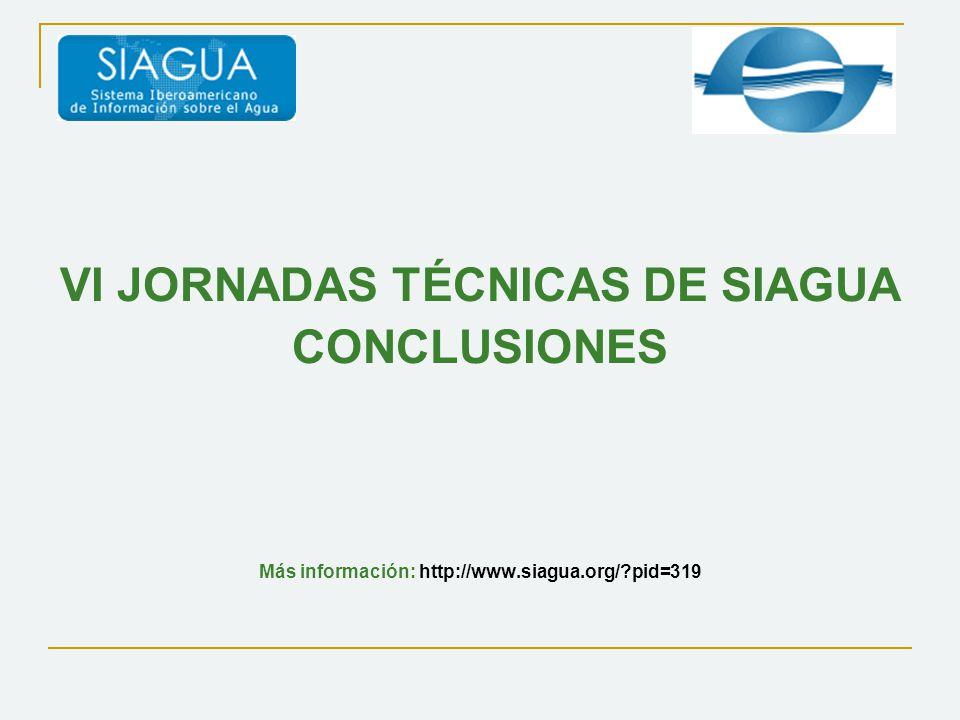 VI JORNADAS TÉCNICAS DE SIAGUA CONCLUSIONES