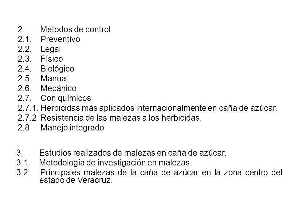 2. Métodos de control 2.1. Preventivo. 2.2. Legal. 2.3. Físico. 2.4. Biológico.
