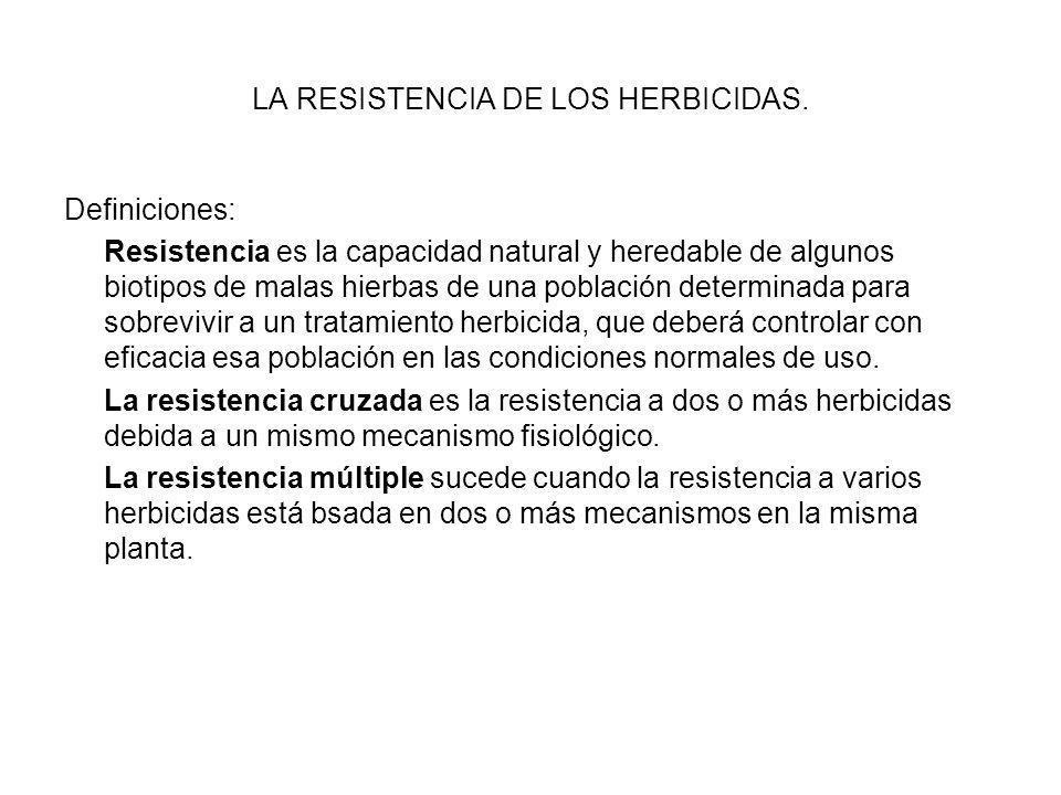 LA RESISTENCIA DE LOS HERBICIDAS.
