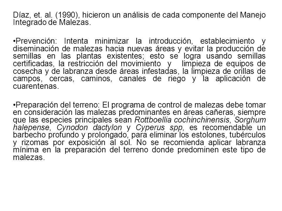 Díaz, et. al. (1990), hicieron un análisis de cada componente del Manejo Integrado de Malezas.
