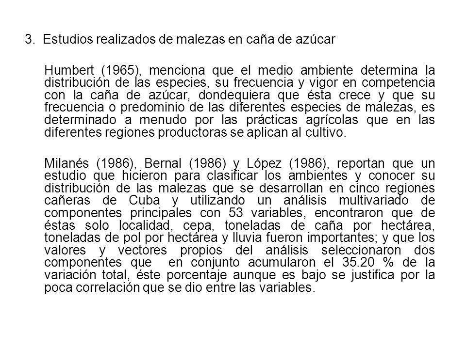 3. Estudios realizados de malezas en caña de azúcar