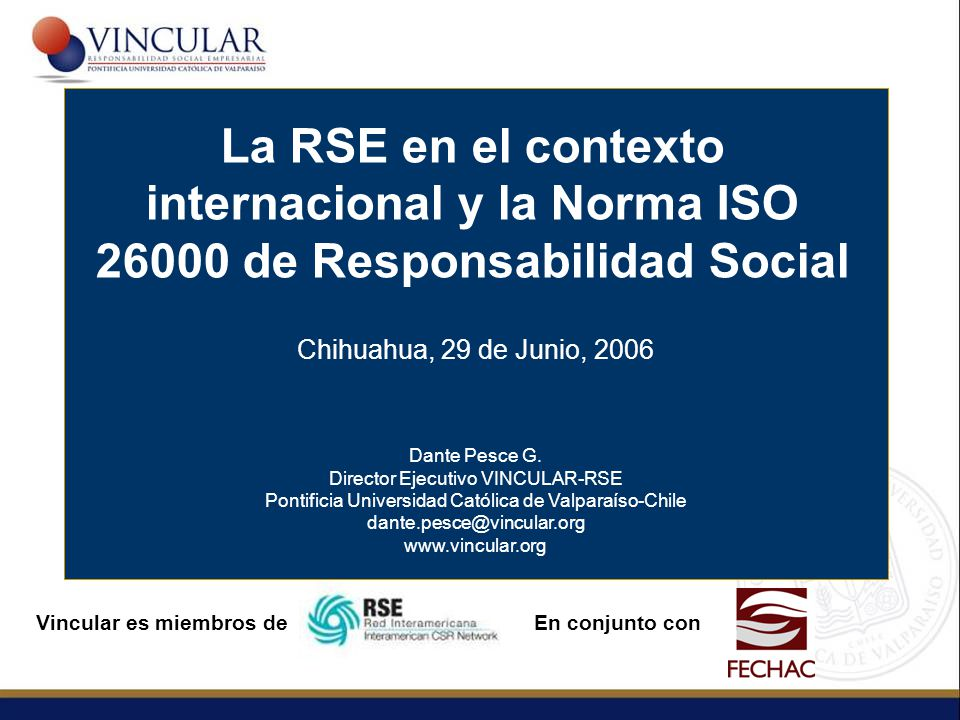 La RSE en el contexto internacional y la Norma ISO 26000 de Responsabilidad Social