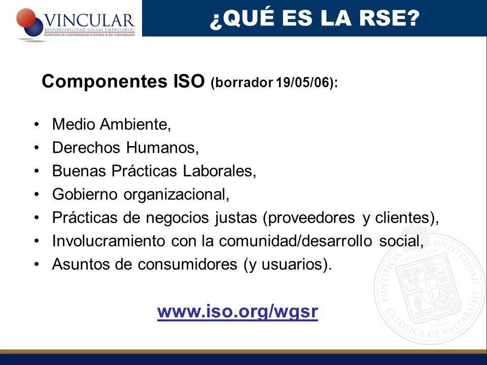 ¿QUÉ ES LA RSE Componentes ISO (borrador 19/05/06): www.iso.org/wgsr