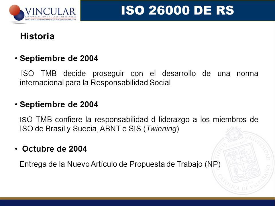 ISO 26000 DE RS Historia. Septiembre de 2004. ISO TMB decide proseguir con el desarrollo de una norma internacional para la Responsabilidad Social.