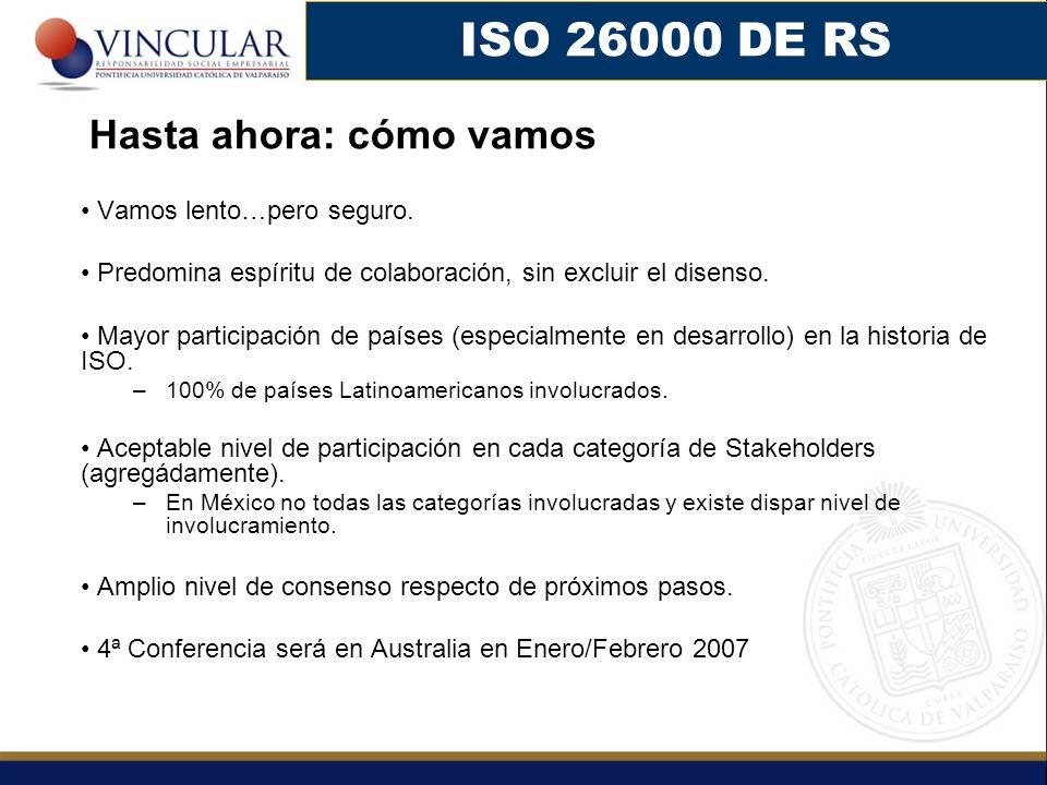 ISO 26000 DE RS Hasta ahora: cómo vamos Vamos lento…pero seguro.
