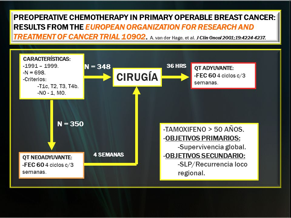 PREOPERATIVE CHEMOTHERAPY IN PRIMARY OPERABLE BREAST CANCER: RESULTS FROM THE EUROPEAN ORGANIZATION FOR RESEARCH AND TREATMENT OF CANCER TRIAL 10902. A. van der Hage, et al. J Clin Oncol 2001;19:4224-4237.
